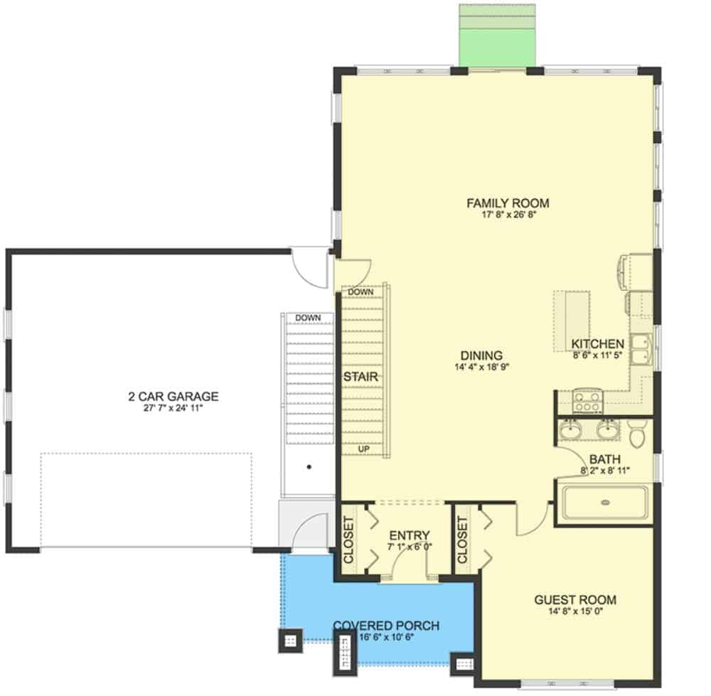 Main level floor plan of a 4-bedroom two-story modern farmhouse with entry porch, guest room, dining area, kitchen, and family room that opens to the side garage.