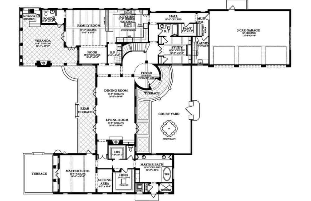 Main level floor plan of a 4-bedroom two-story Spanish-style home with living room, dining room, kitchen, breakfast nook, family room, study, primary suite, and plenty of outdoor spaces.