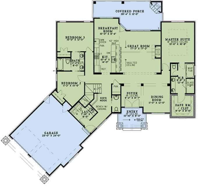 Main level floor plan of a single-story 3-bedroom bungalow ranch with front and rear porches, foyer, formal dining room, great room, kitchen with breakfast nook, kid's nook, laundry room, and angled garage.