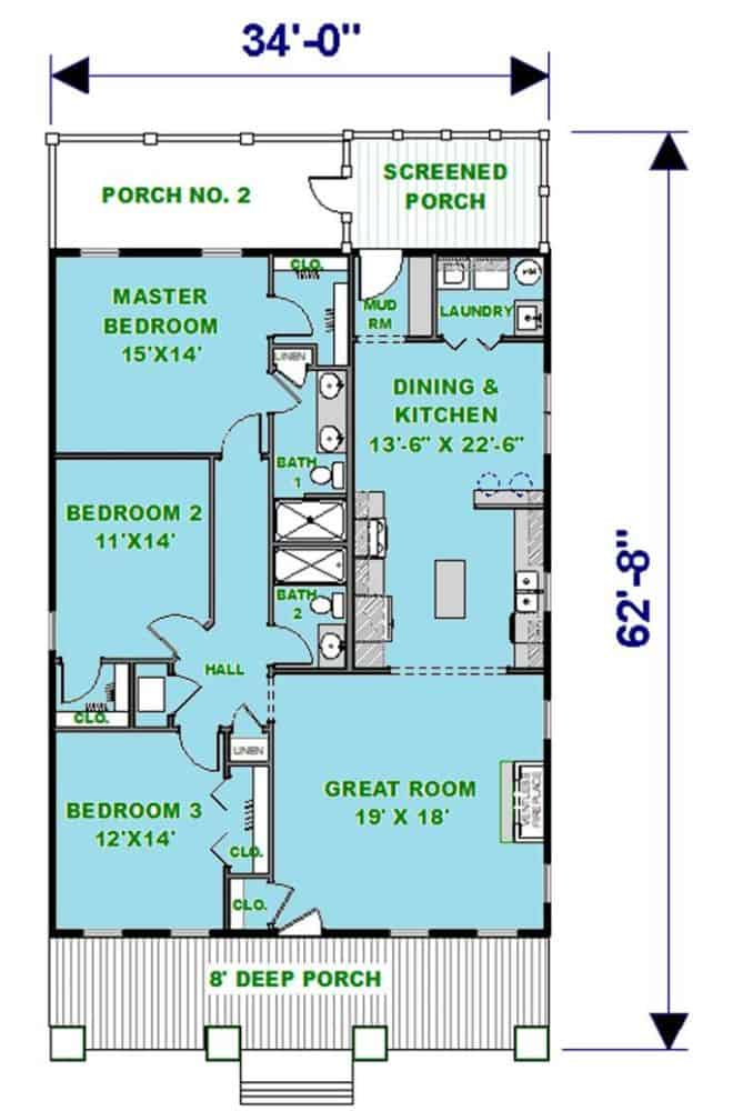 Main level floor plan of a single-story 3-bedroom country style ranch with front and rear porches, great room, combined dining and kitchen, and three bedrooms including the primary suite.