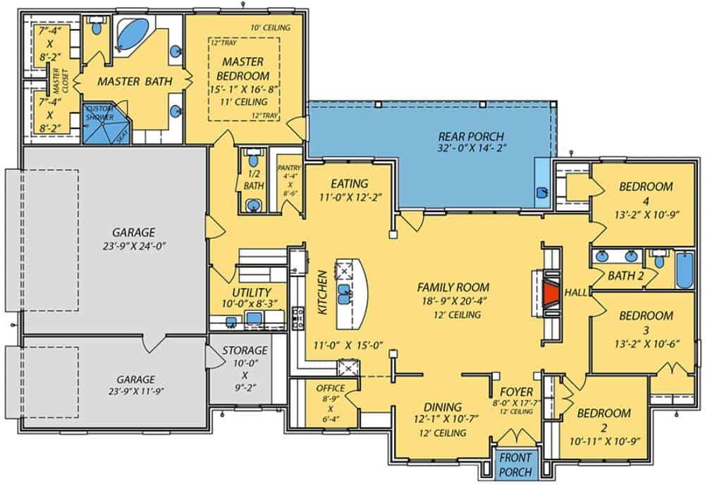 Main level floor plan of a single-story 4-bedroom brick-clad Acadian home with front and rear porches, foyer, formal dining room, family room, kitchen with breakfast nook, office, utility room, and 3-car garage with storage room.