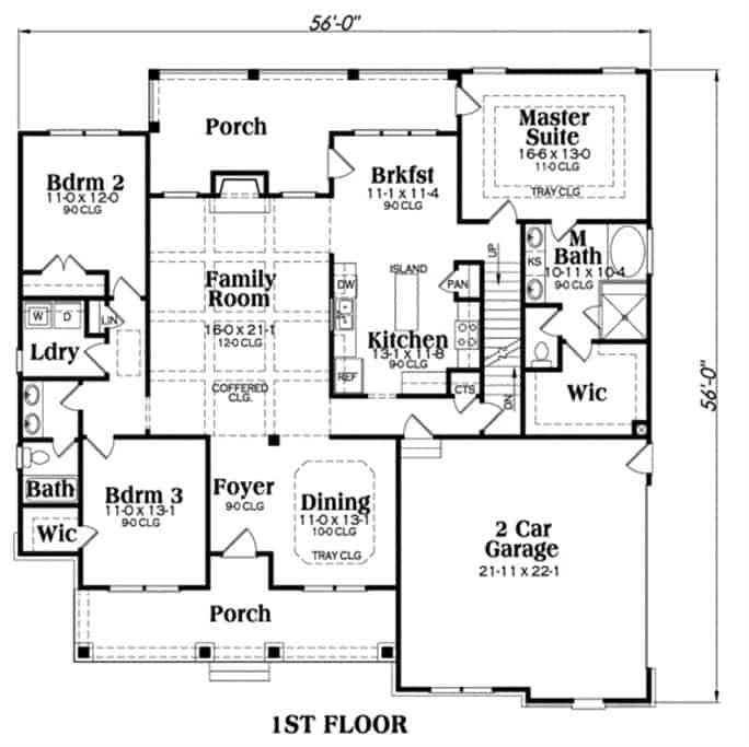 Main level floor plan of a two-story 3-bedroom craftsman home with front and rear porches, foyer, formal dining room, family room, kitchen, breakfast nook, laundry room, and three bedrooms including the primary suite.