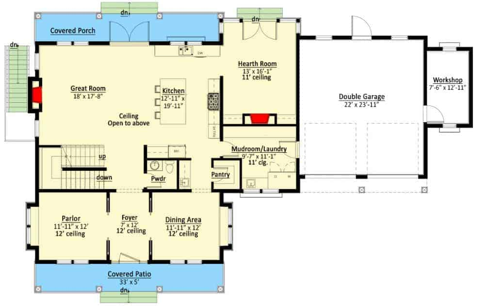 Main level floor plan of a two-story 3-bedroom farmhouse with front and rear porches, foyer, great room, kitchen, formal dining room, parlor, hearth room, and combined mudroom and laundry room leading to the double garage.