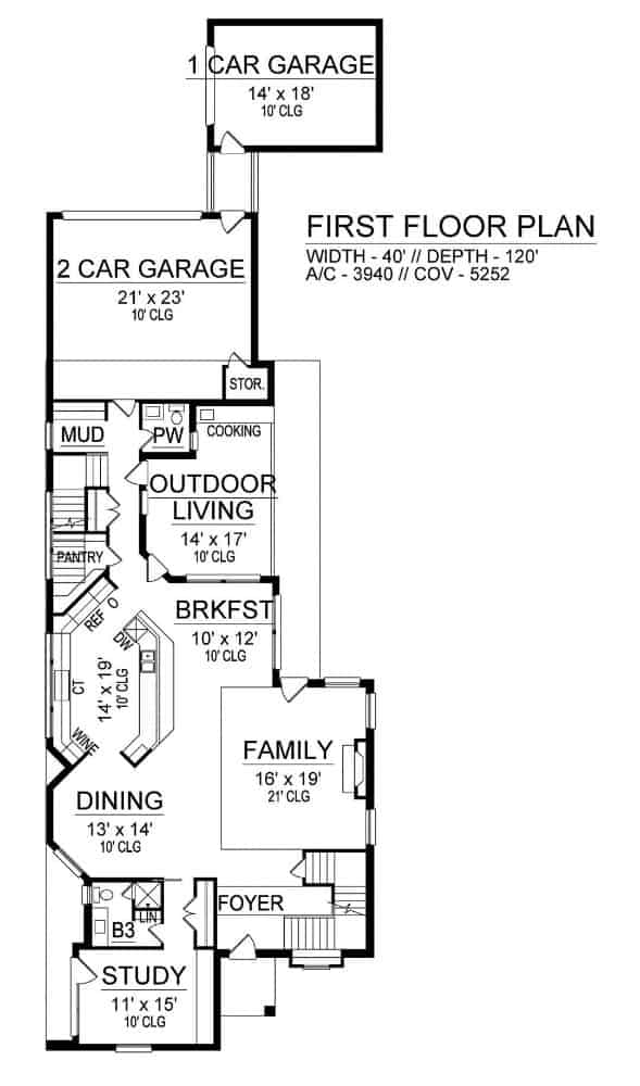Main level floor plan of a two-story 3-bedroom luxury contemporary home with foyer, family room, dining area, kitchen with breakfast nook, study, outdoor living, and multiple rear garages.