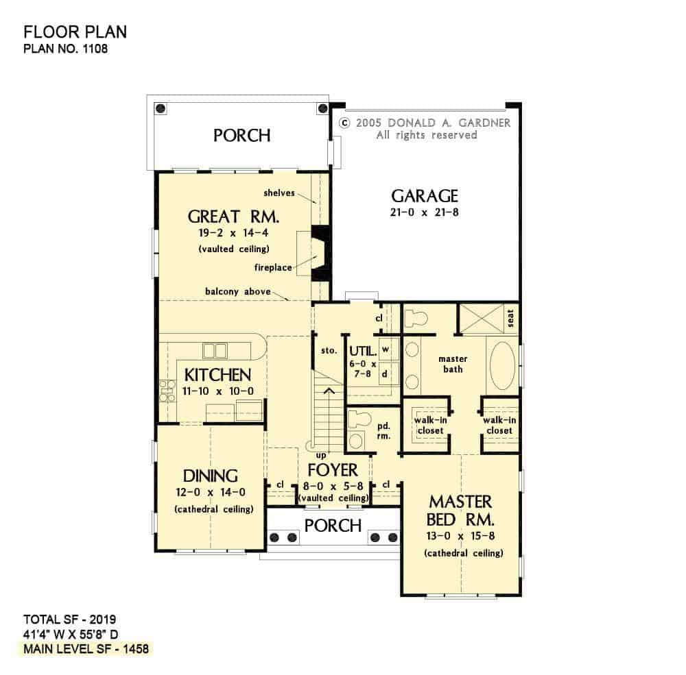 Main level floor plan of a two-story 3-bedroom The Radford cottage with front and rear porches, foyer, formal dining room, kitchen, great room, primary suite, and utility room.