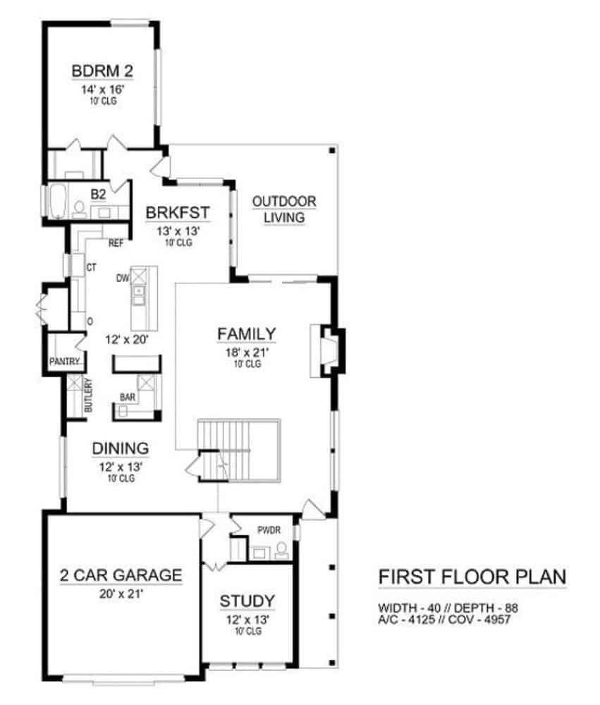 Main level floor plan of a two-story 4-bedroom colonial home with family room, formal dining room, kitchen, breakfast nook, a bedroom, study, and outdoor living.