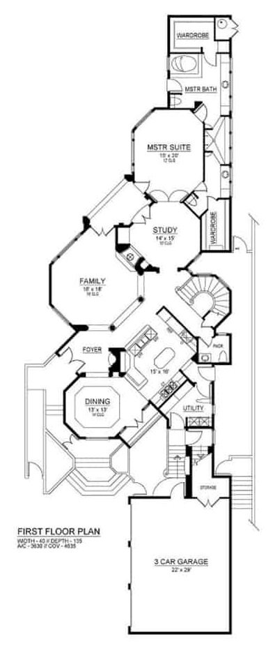 Main level floor plan of a two-story 4-bedroom Mediterranean home with foyer, formal dining room, family room, kitchen, study, and primary suite.