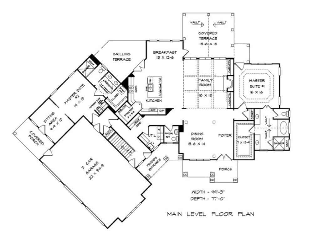 Main level floor plan of a two-story 4-bedroom traditional-style home with foyer, formal dining room, family room, kitchen with breakfast nook, two primary suites, and plenty of outdoor spaces.
