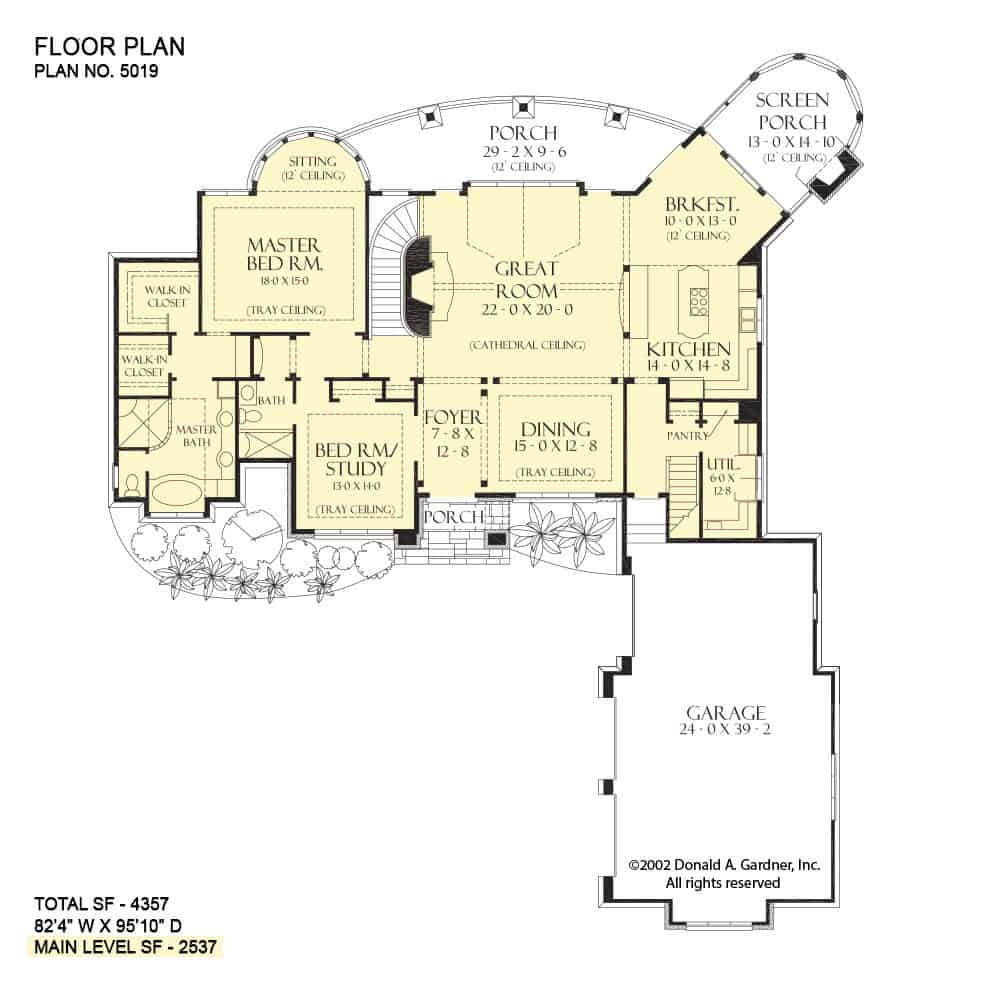 Main level floor plan of a two-story 5-bedroom The Hollowcrest European home with front and rear porches, foyer, formal dining room, great room, kitchen, breakfast nook that extends tot he screened porch, and two bedrooms including the primary suite.