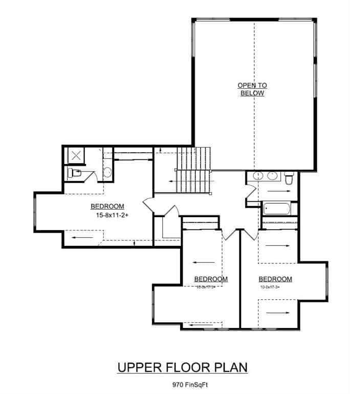 Second level floor plan with three bedrooms sharing a full bath.