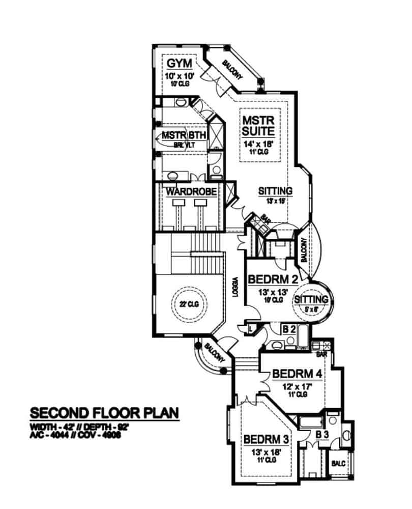 Second level floor plan with three family bedrooms and a primary suite complete with a gym and balcony.