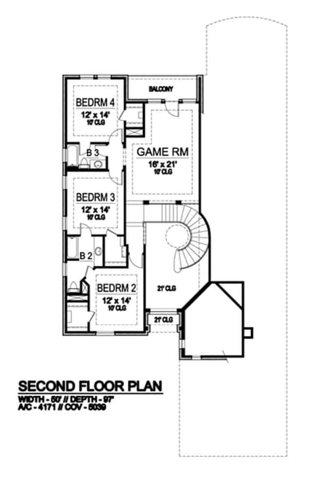 Second level floor plan with three bedrooms and a game room with balcony.