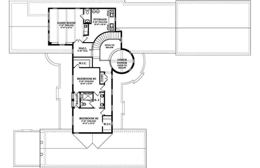 Second level floor plan with a game room and two bedrooms connected by a balcony and Jack and Jill bath.
