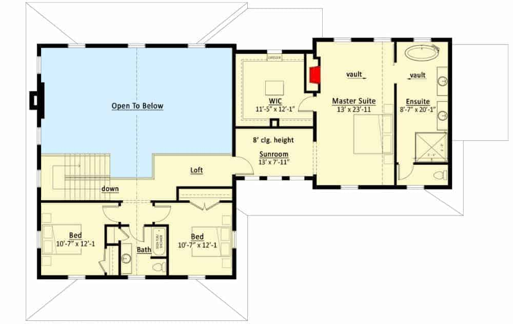 Second level floor plan with a loft and three bedrooms including the primary suite.