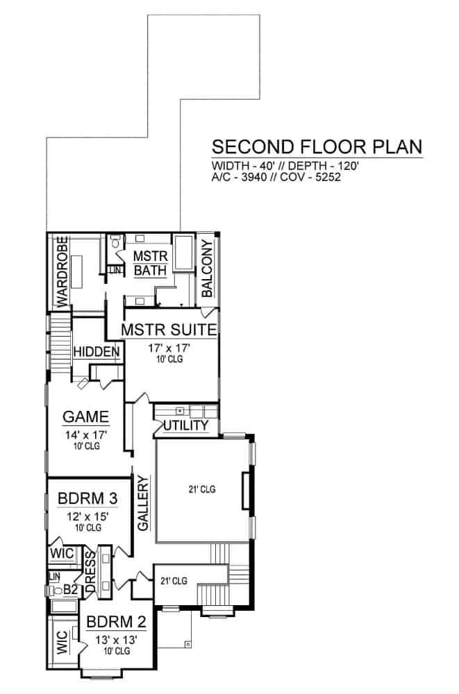 Second level floor plan with three bedrooms, two baths, utility room, and a game loft with the hidden room.
