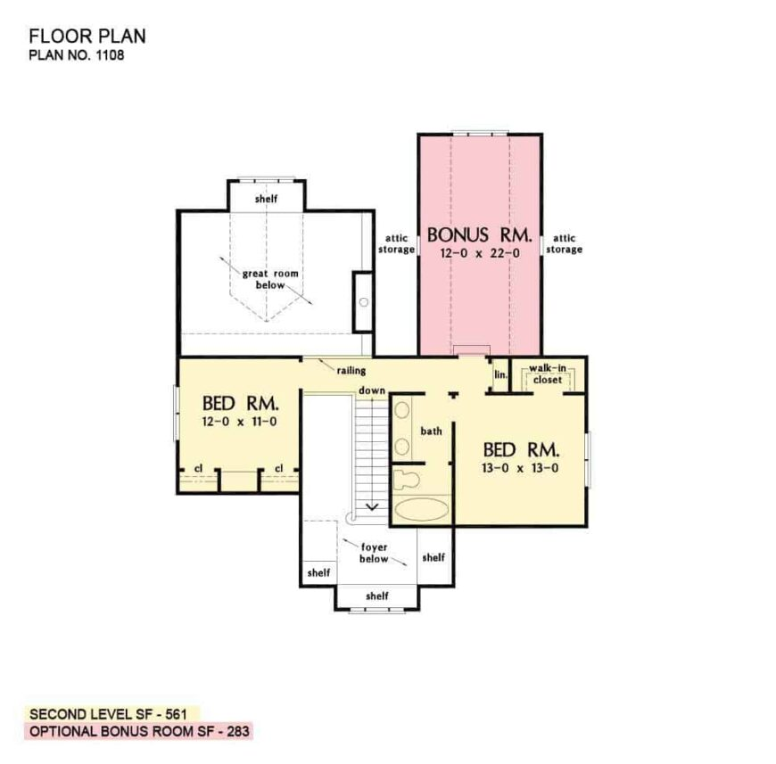 Second level floor plan with two bedrooms and a bonus room sharing a hall bath.