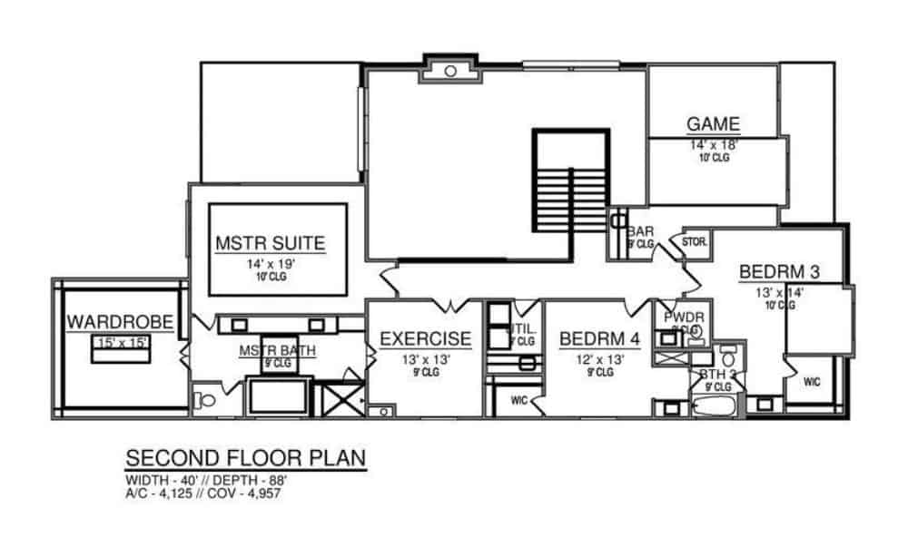 Second level floor plan with a game room, exercise room, and three bedrooms including the primary suite.