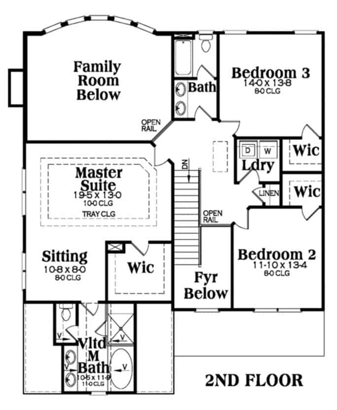 Second level floor plan with laundry room and three bedrooms including the primary suite.