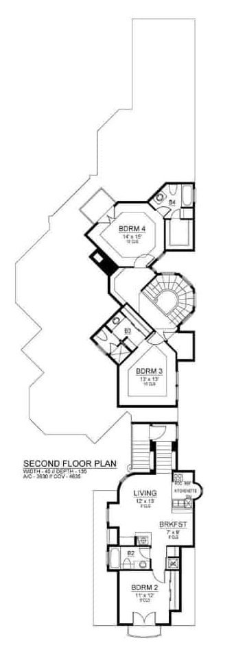 Second level floor plan with two bedrooms and an in-law suite.
