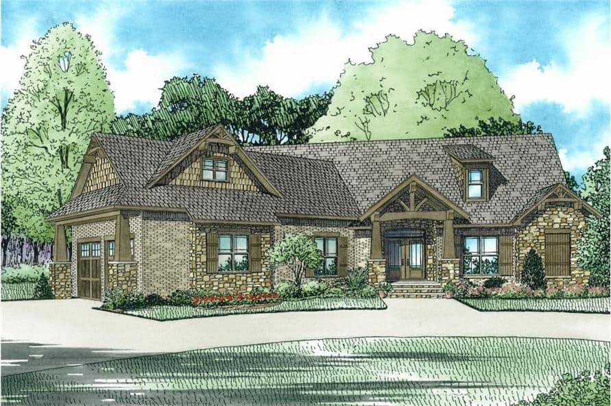 Front perspective sketch of the single-story 3-bedroom bungalow ranch.