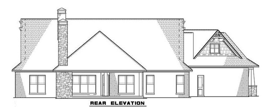 Rear elevation sketch of the single-story 3-bedroom bungalow ranch.