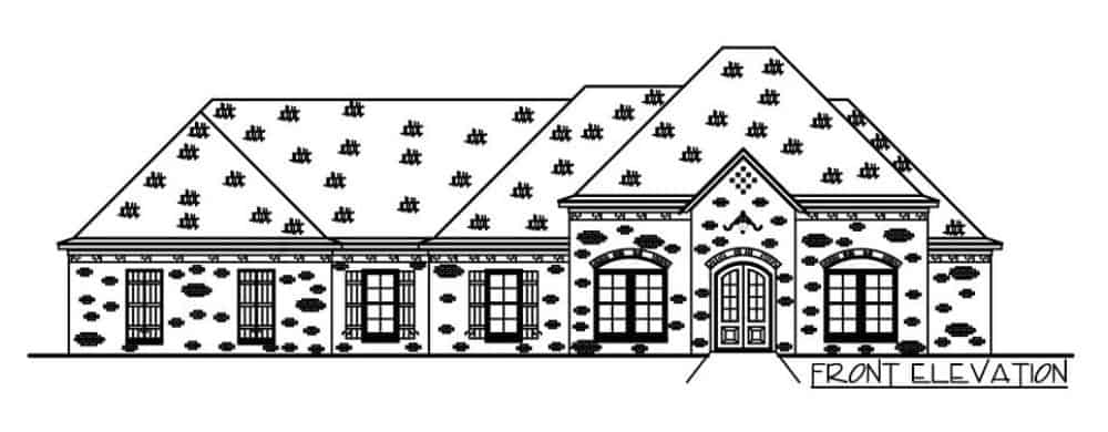 Front elevation sketch of the single-story 4-bedroom brick-clad Acadian home.