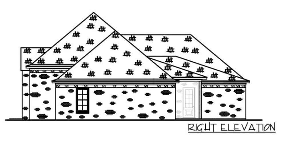 Right elevation sketch of the single-story 4-bedroom brick-clad Acadian home.