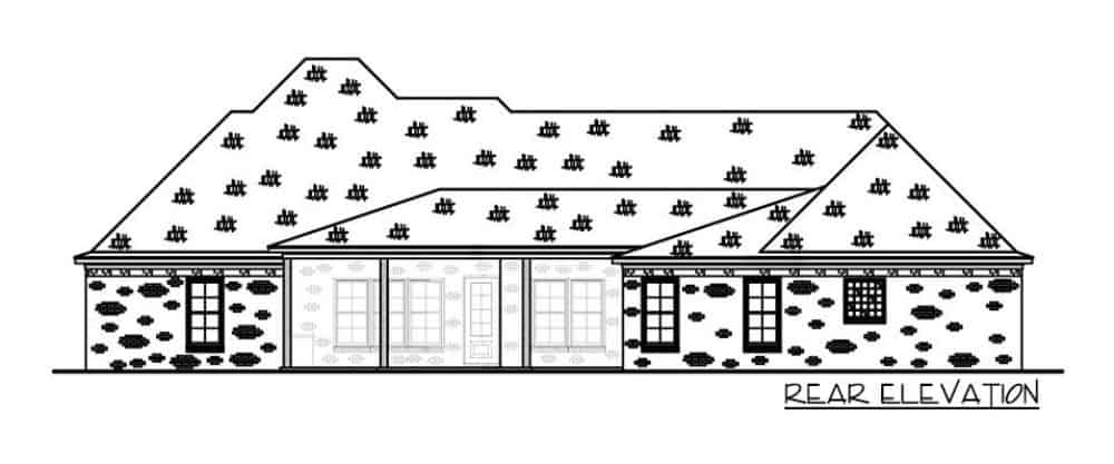 Rear elevation sketch of the single-story 4-bedroom brick-clad Acadian home.