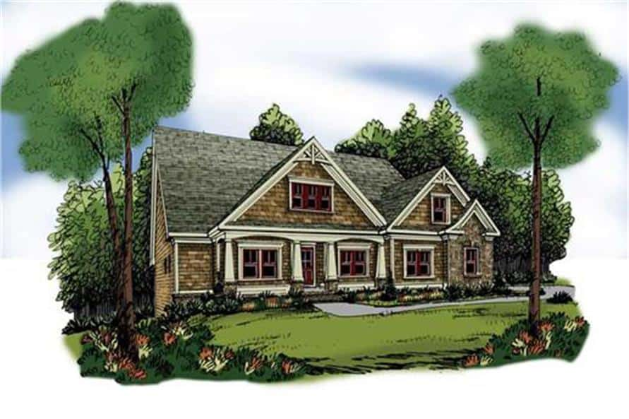 Colored front perspective sketch of the two-story 3-bedroom craftsman home.