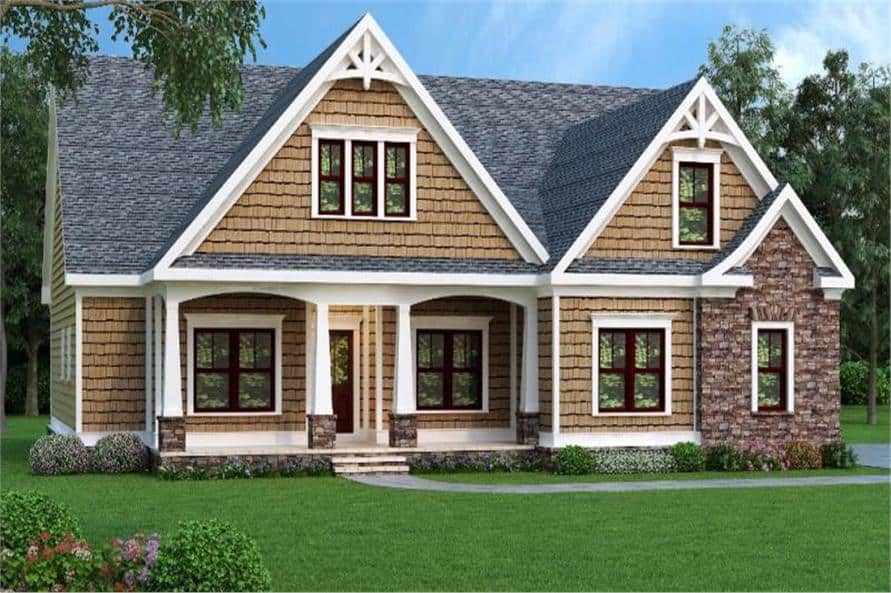 Front rendering of the two-story 3-bedroom craftsman home.