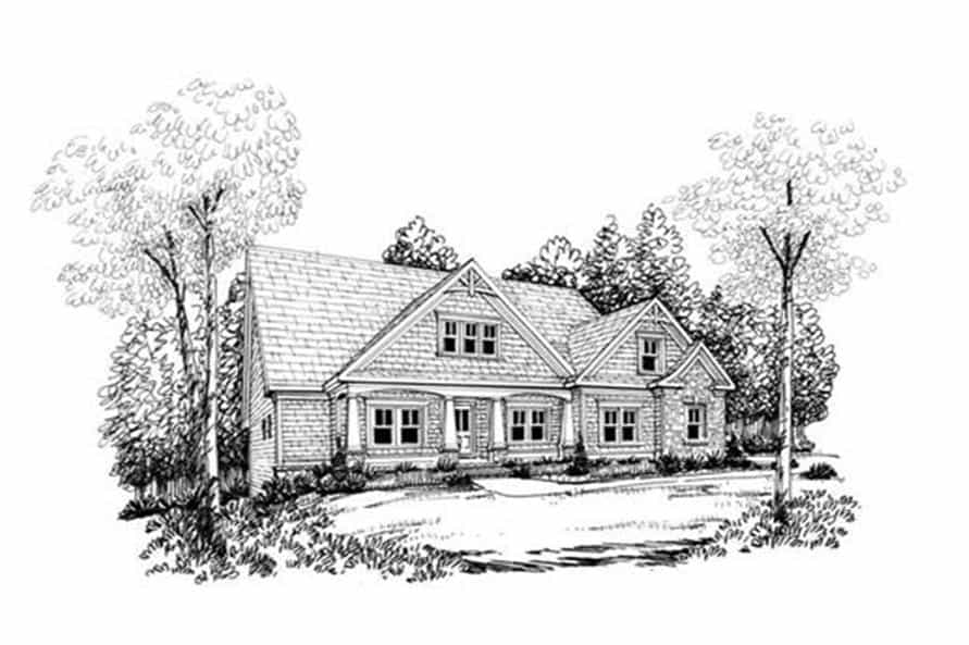 Front perspective sketch of the two-story 3-bedroom craftsman home.