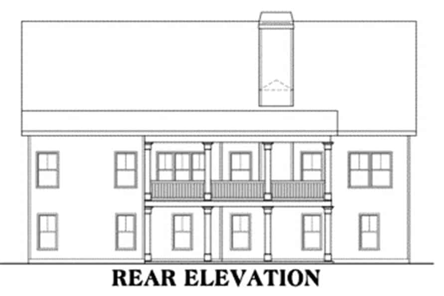 Rear elevation sketch of the two-story 3-bedroom craftsman home.