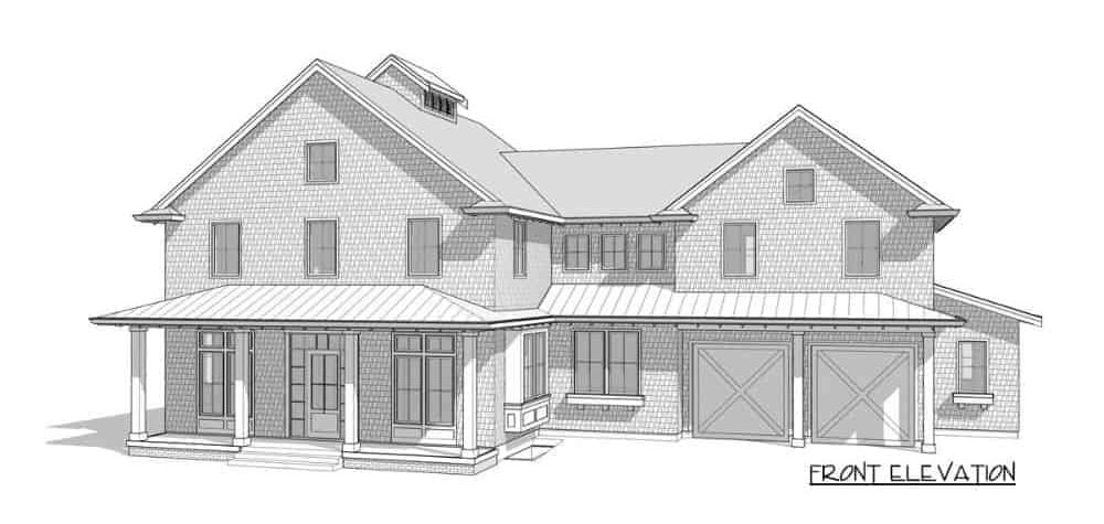 Front elevation sketch of the two-story 3-bedroom farmhouse.