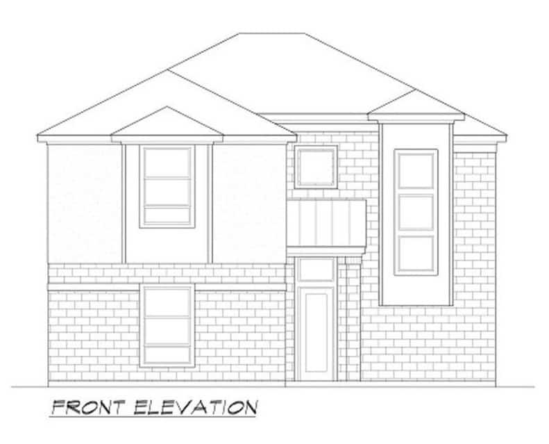 Front elevation sketch of the two-story 3-bedroom luxury contemporary home.