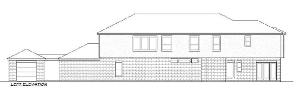 Left elevation sketch of the two-story 3-bedroom luxury contemporary home.