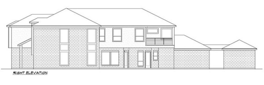 Right elevation sketch of the two-story 3-bedroom luxury contemporary home.