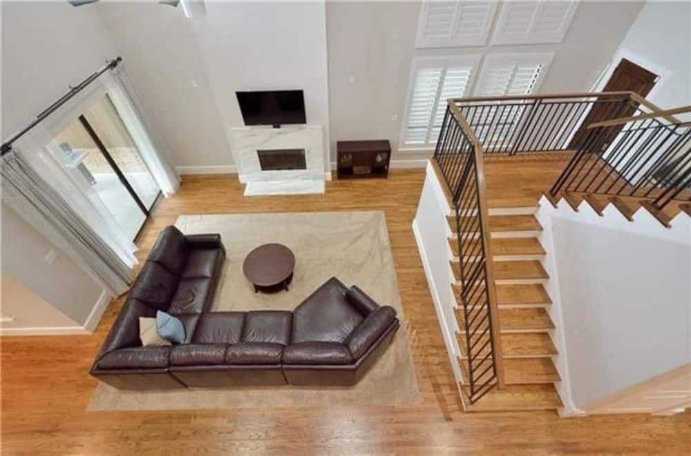 View of the family room from the second-floor balcony.