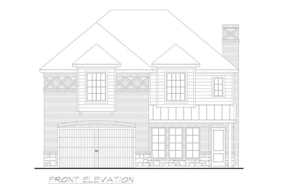 Front elevation sketch of the two-story 4-bedroom colonial home.