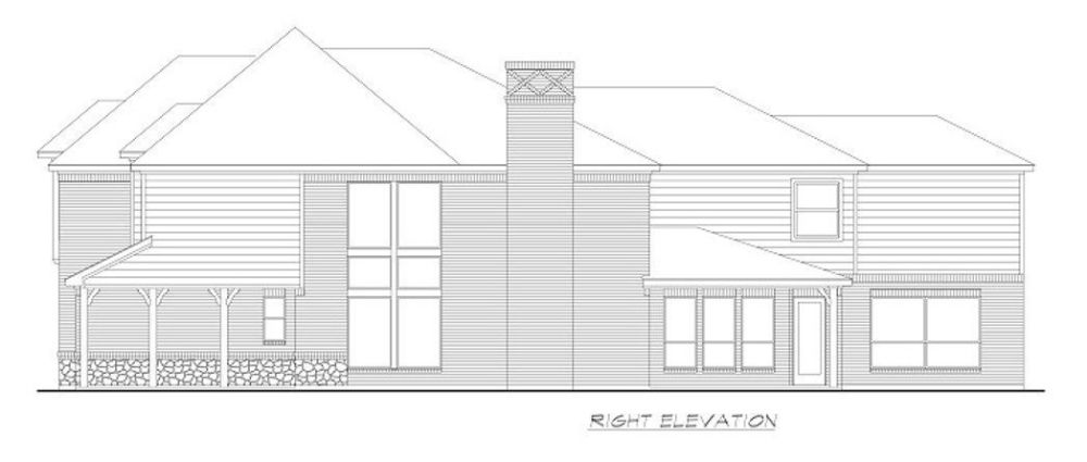 Right elevation sketch of the two-story 4-bedroom colonial home.