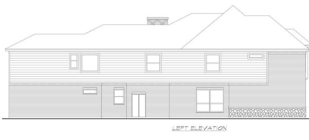 Left elevation sketch of the two-story 4-bedroom colonial home.