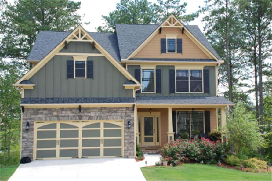 Two-Story 4-Bedroom Craftsman Home for a Narrow Lot with Open Concept Living