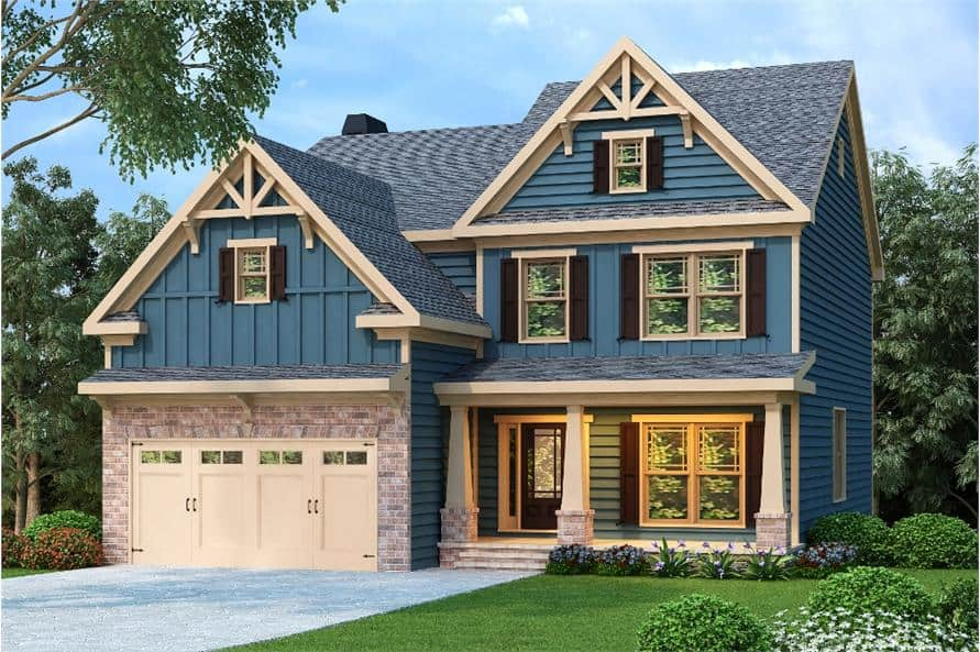 Front rendering of the two-story 4-bedroom craftsman home.