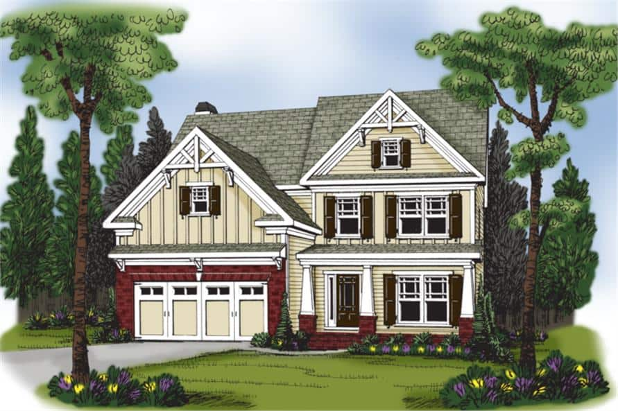 Front perspective sketch of the two-story 4-bedroom craftsman home.