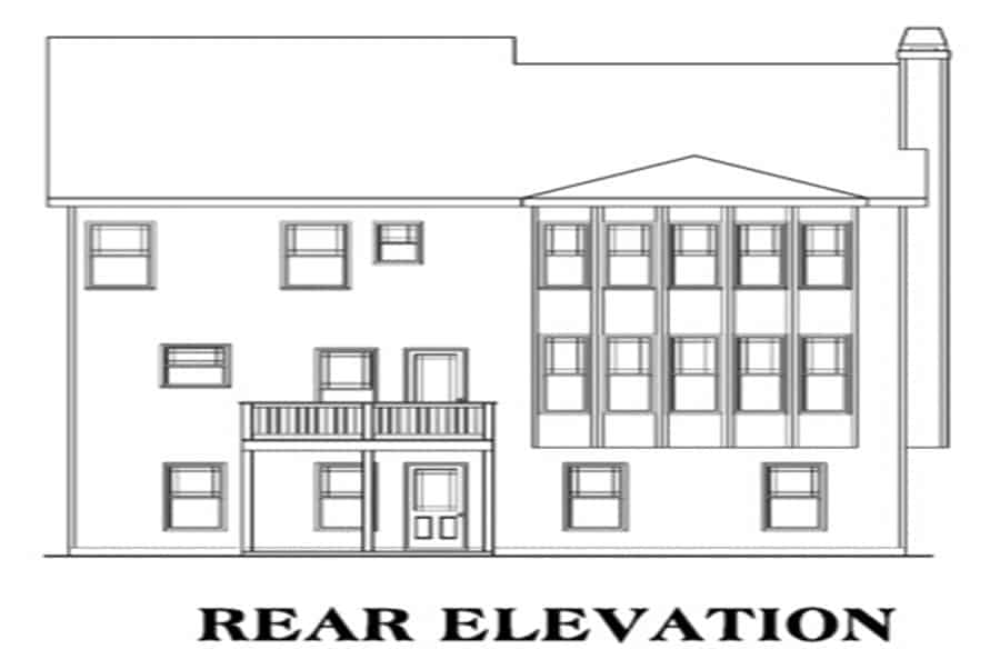 Rear elevation sketch of the two-story 4-bedroom craftsman home.