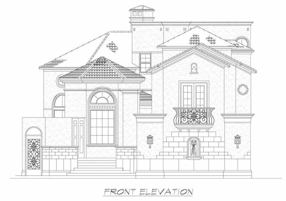 Front elevation sketch of the two-story 4-bedroom Mediterranean home.