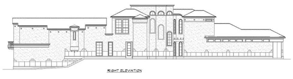 Right elevation sketch of the two-story 4-bedroom Mediterranean home.