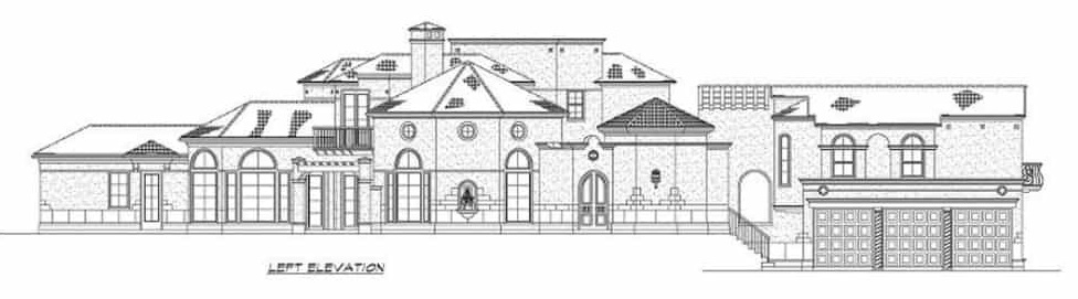 Left elevation sketch of the two-story 4-bedroom Mediterranean home.