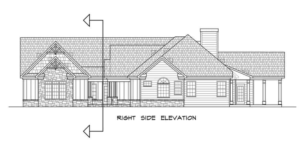 Right elevation sketch of the two-story 4-bedroom traditional-style home.