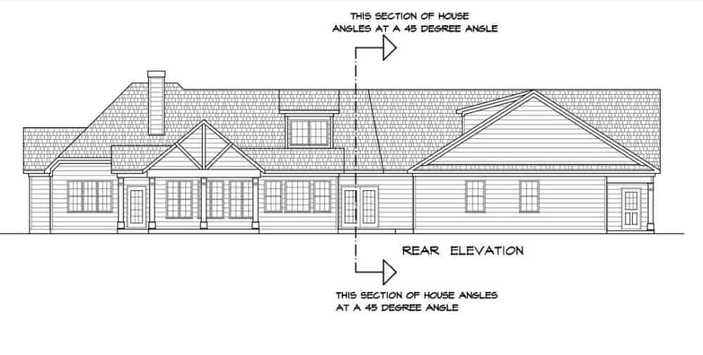 Rear elevation sketch of the two-story 4-bedroom traditional-style home.