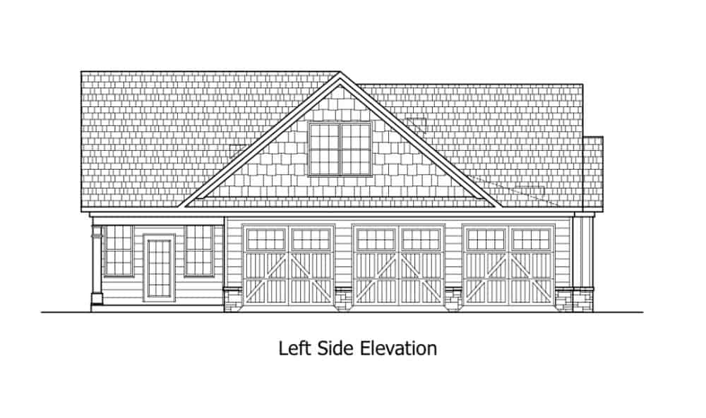 Left elevation sketch of the two-story 4-bedroom traditional-style home.